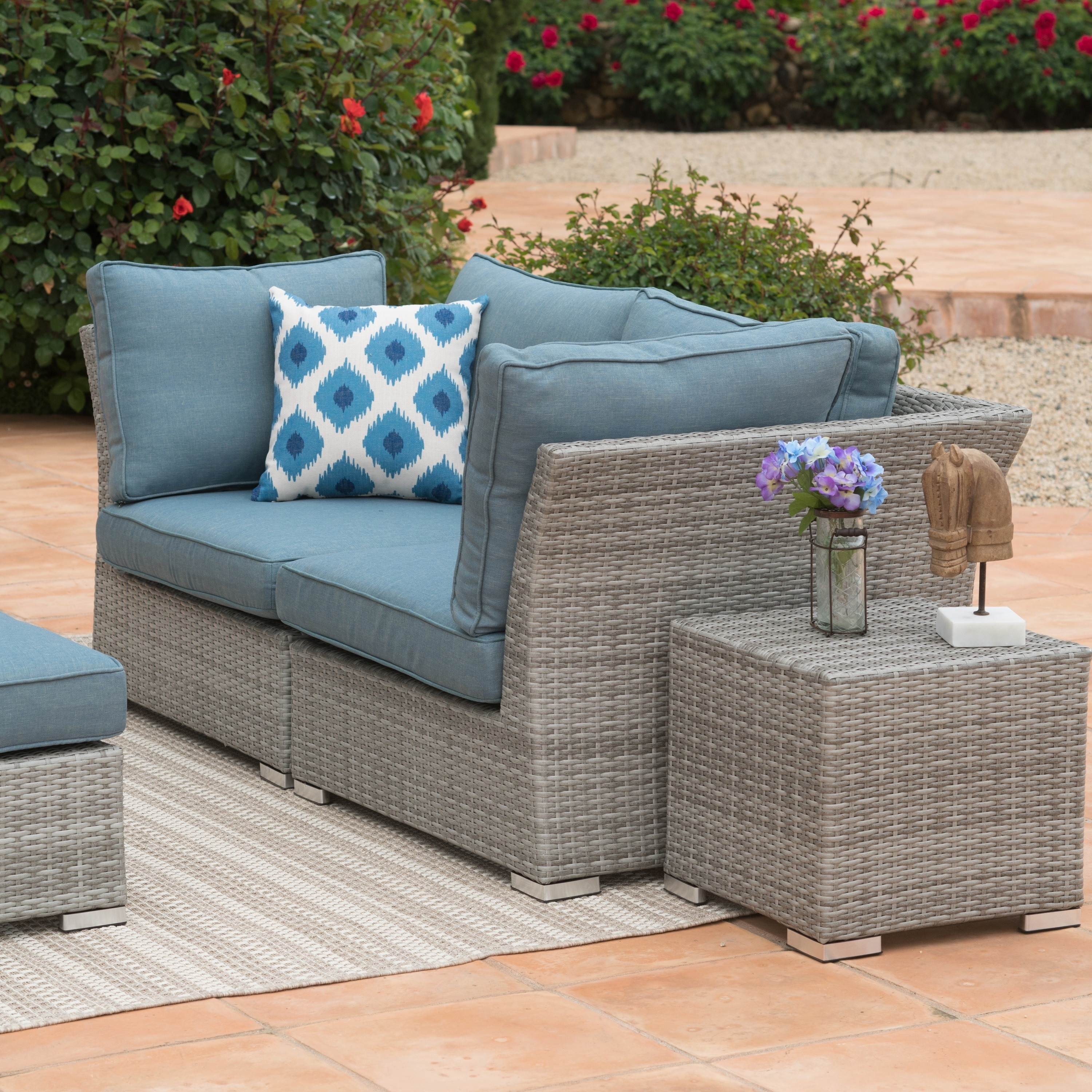 Corvus 8 Piece Grey Wicker Patio Furniture Set With Blue Cushions