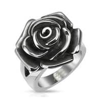 Single Rose Cast Band Stainless Steel Ring