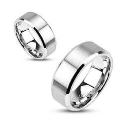 Stainless Steel Brushed Center Flat Band with Beveled Edge Ring - Thumbnail 0