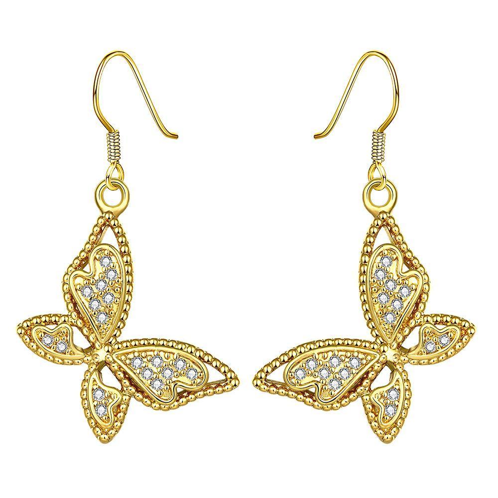 Vienna Jewelry Gold Plated Butterflies Drop Down Earrings