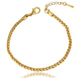 Vienna Jewelry 18K Gold Clean Cut Bracelet with Austrian Crystal Elements - Thumbnail 0