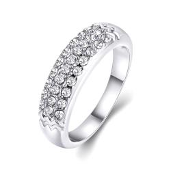 Vienna Jewelry 18K White Gold Triple Layer Middi Ring Size 9 - Thumbnail 0