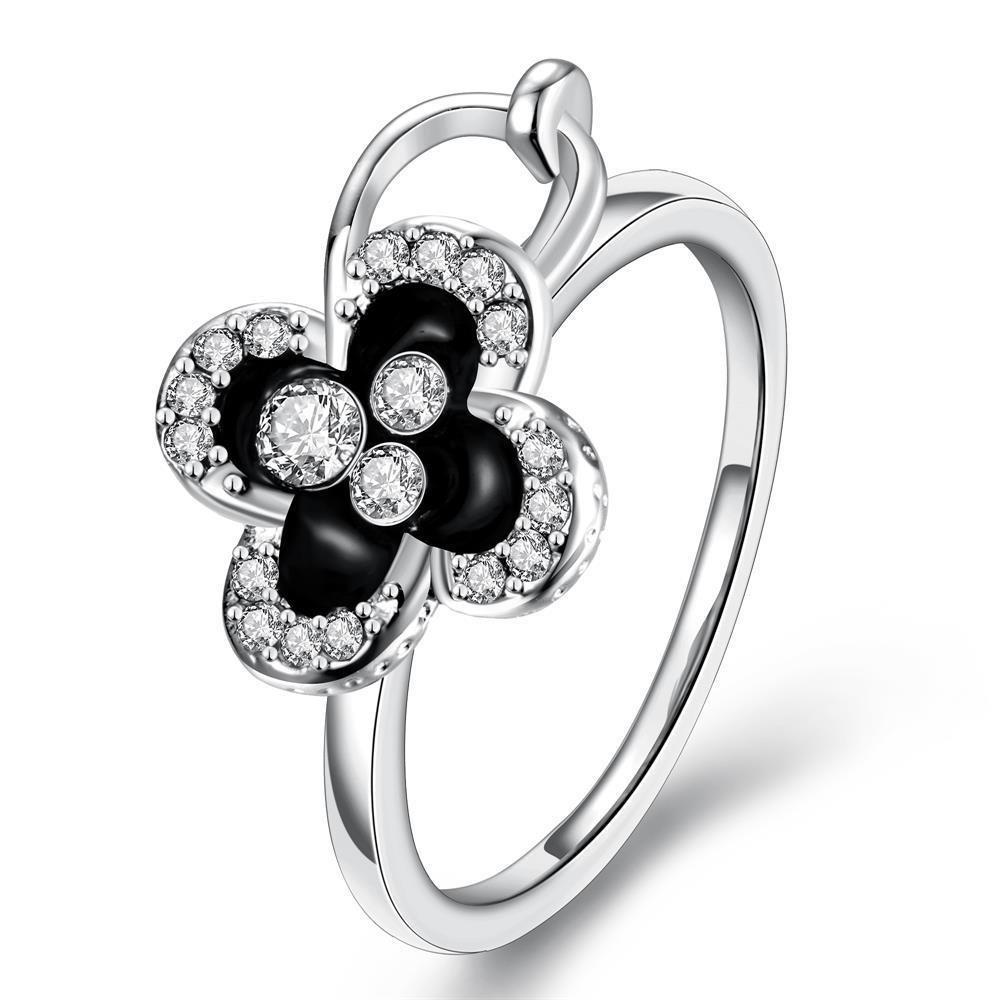 Vienna Jewelry White Gold Plated Onyx Clover Stud Ring Size 8