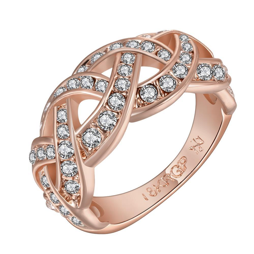 Vienna Jewelry Rose Gold Plated Swirl Design Classical Wedding Band Size 8