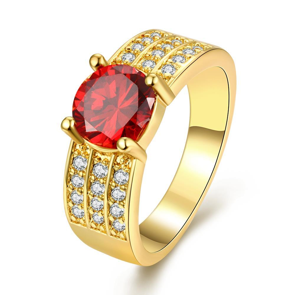Vienna Jewelry Gold Plated Trio-Crystal Lined Ring