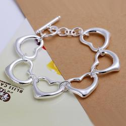 Vienna Jewelry Sterling Silver Surronding Hollow Hearts Bracelet - Thumbnail 0