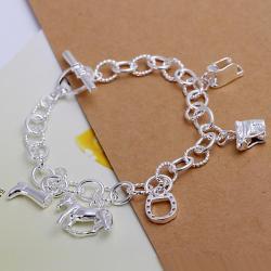 Vienna Jewelry Sterling Silver Multi-Charms Interlocked Bracelet - Thumbnail 0