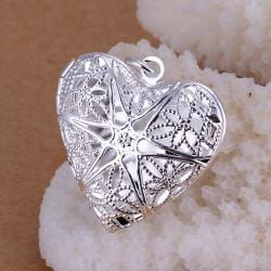 Vienna Jewelry Sterling Silver Laser Cut Heart Shaped Pendant - Thumbnail 0