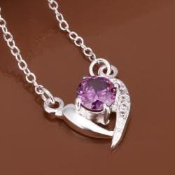 Vienna Jewelry Sterling Silver Purple Citrine Curved Heart Pendant Necklace - Thumbnail 0