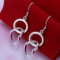 Vienna Jewelry Sterling Silver Drop Circular & Hearts Earring - Thumbnail 0