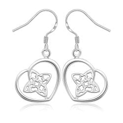Vienna Jewelry Sterling Silver Clover & Hearts Earring - Thumbnail 0