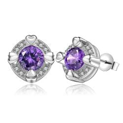 Vienna Jewelry Sterling Silver Purple Citrine Heart Surronding Stud Earring - Thumbnail 0