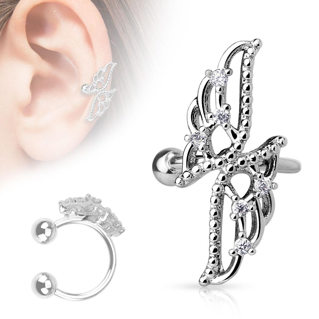 Crossed Wings with CZs Non-Piercing Ear Cuff