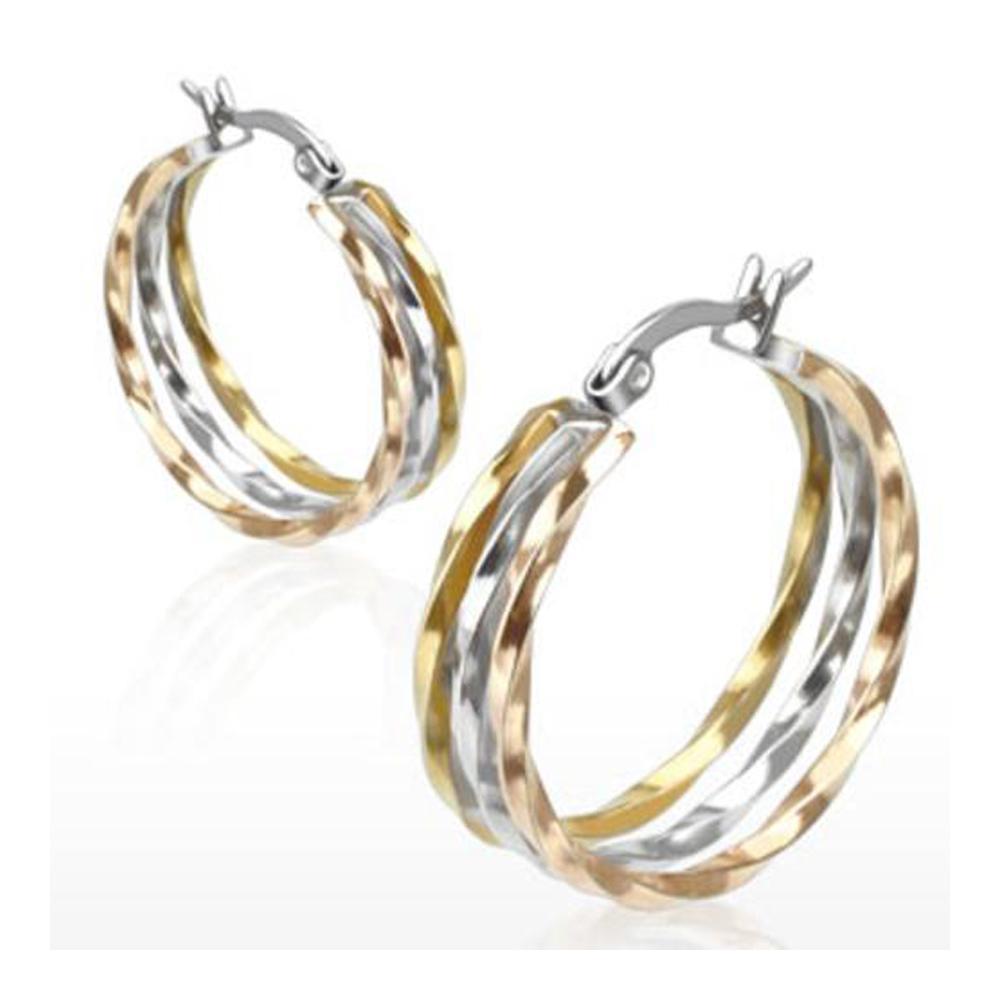 Pair of Stainless Steel Gold IP Triple Tone Three Twist Rings Hoop Earring