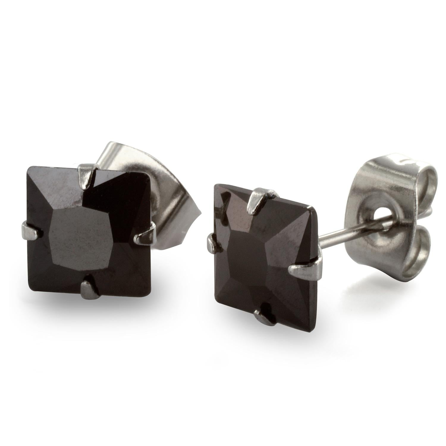 Stainless Steel Stud Earrings with Princess Cut Square Black CZ - 7 mm