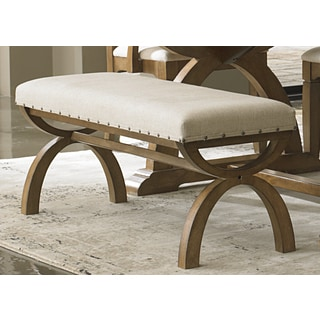 Elements Weathered Espresso Upholstered Dining Bench
