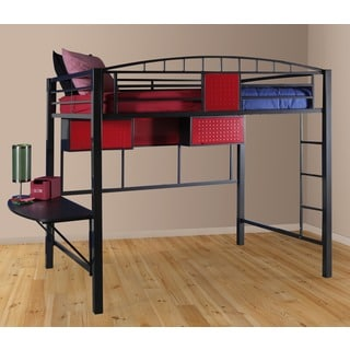 White Metal Twin Loft Bunk Bed 12579894 Overstock Com