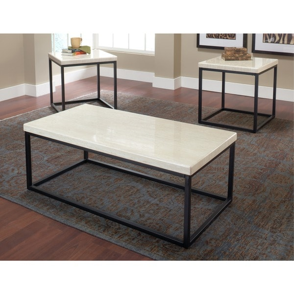 Faux White Marble Coffee Table Set: Faux Marble Coffee Table (Set Of 3)
