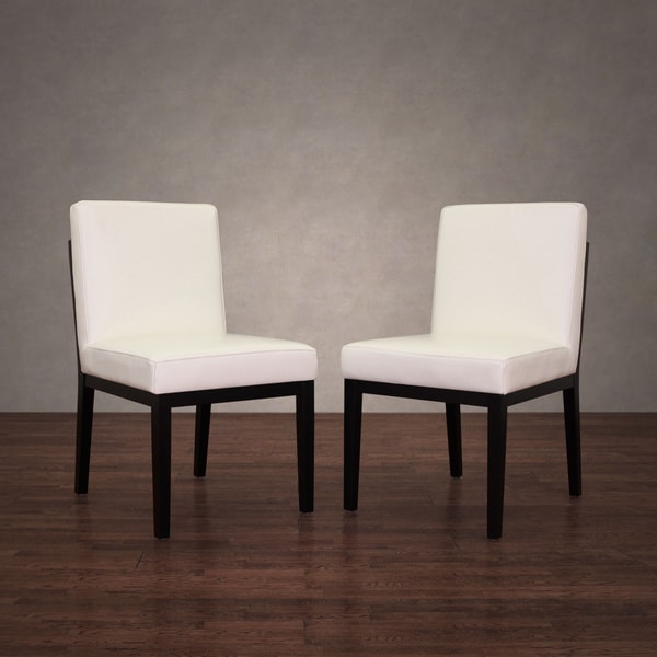 Bobby Modern White Leather Dining Chairs (Set Of 2