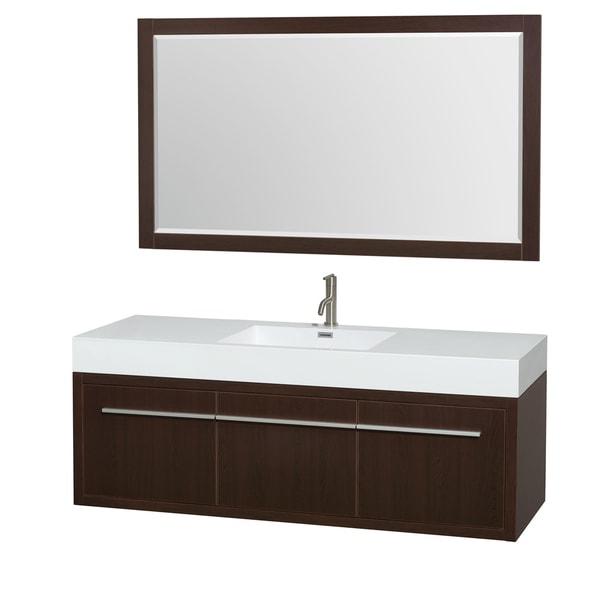 Wyndham Collection Axa 60 Inch Single Bathroom Vanity Acrylic Resin Top Integrated Sink 58