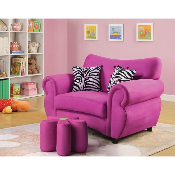 Lucy Pink Youth Chair Ottoman Sold Separately