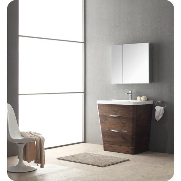 Fresca Milano 32-inch Rosewood Modern Bathroom Vanity with ...