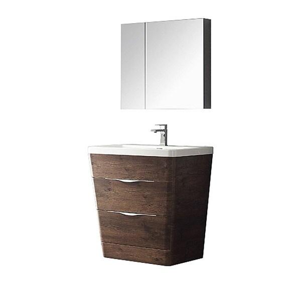 Fresca Milano 32 Inch Rosewood Modern Bathroom Vanity With