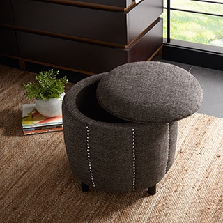 Round Silver Tufted Pouf Ottoman 16646956 Overstock