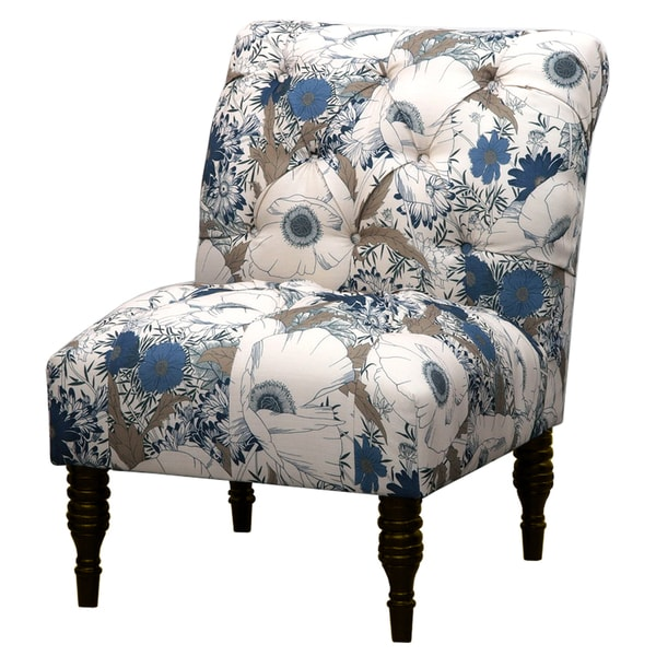 Blue Floral Tufted Accent Chair