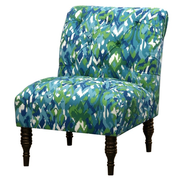 Blue Green Ikat Tufted Accent Chair Overstock Shopping