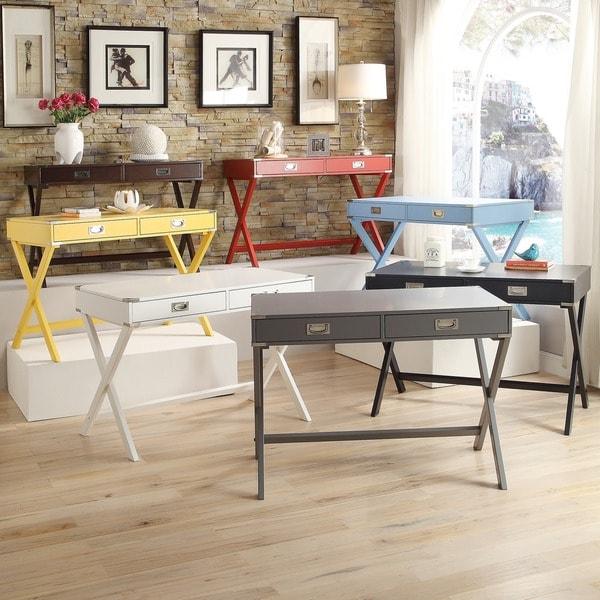 Inspire Q Kenton X Base Wood Accent Campaign Writing Desk