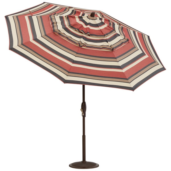 Patio Umbrella Flying Away: Art Van 9-fiit Sedona Stripe Auto Tilt Umbrella