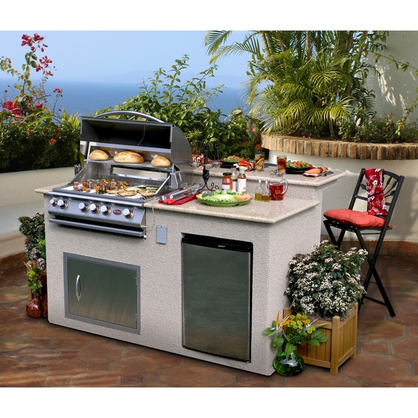 Beautiful Outdoor Kitchen Add A Stove Top And You Could: Cal Flame Outdoor Kitchen 4-Burner Barbecue Grill Island