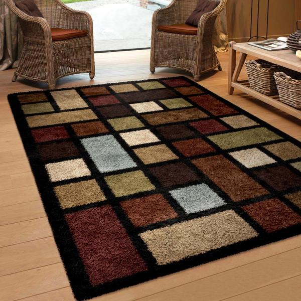 Oasis Shag Collection Color Grid Multi Area Rug 5 3 X 7 6