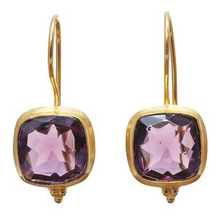 Handmade Brass Gold Overlay Rose Hydro Glass Earrings (India) - Pink