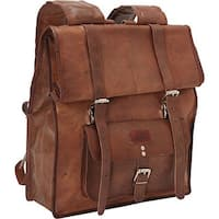 SHARO B-1400 Brown Hand-crafted Genuine Leather Roll-up Backpack