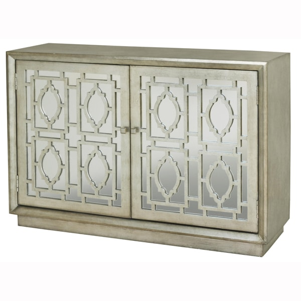 Hand Painted Distressed Silver Finish Mirrored Accent
