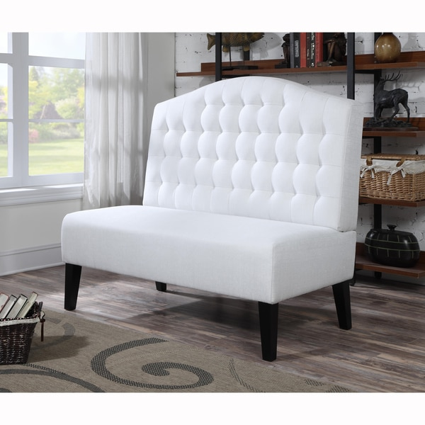 Ivory Tufted Upholstered Banquette Bench 17197820