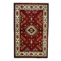 Herat Oriental Indo Hand-knotted Tribal Kazak Wool Rug - 3'2 x 5'1