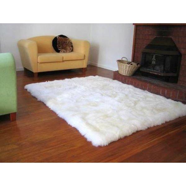Faux Fur Sheepskin Shag Area Rug Ivory (3'5 X 5'5
