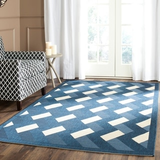 Safavieh Indoor Outdoor Amherst Navy Ivory Rug 6 X 9