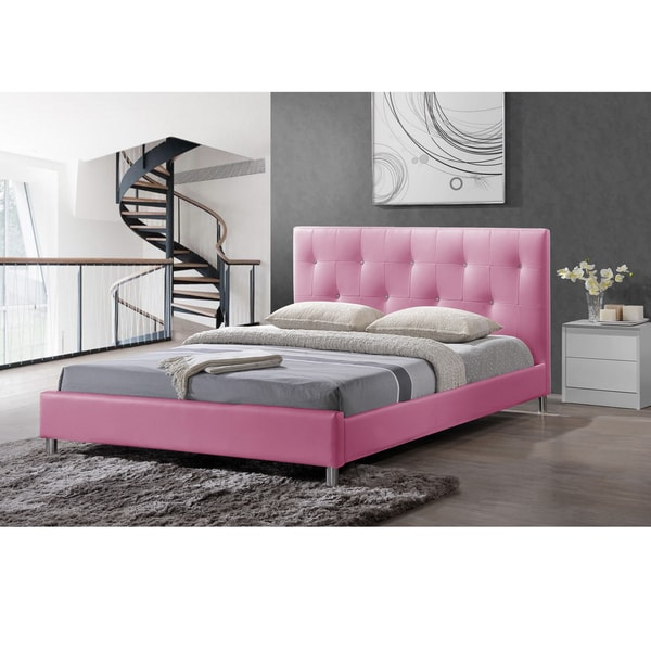 barbara pink modern full size bed with crystal button tufting 17206644. Black Bedroom Furniture Sets. Home Design Ideas