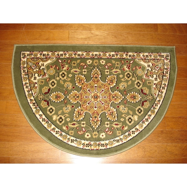 Hearth Rugs: Fireplace Floral Green/ Beige Hearth Rug (2'2 X 3'2