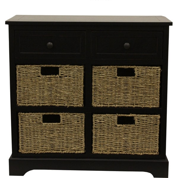 Buy Wicker Storage Basket Kitchen Drawer Style From The: Wicker Dresser Black Bedroom Storage Chest 6 Basket