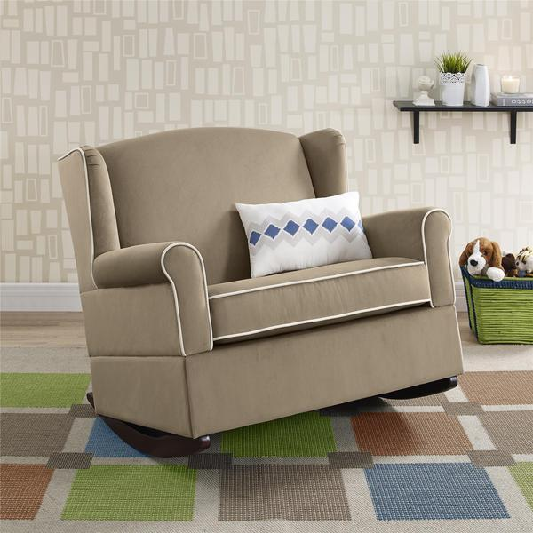 Baby Relax Lainey Taupe Wingback Chair And A Half Rocker