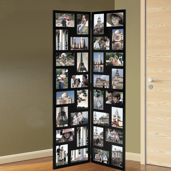 Adeco Black Wood Hinged Folding Screen Style Collage