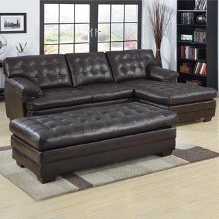 Diana Dark Brown Leather Sectional Sofa Set 10511277