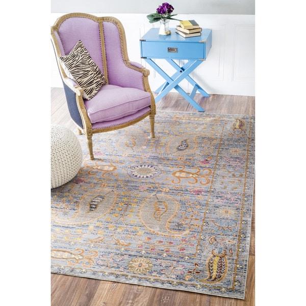 Shop Nuloom Traditional Persian Fancy Aqua Rug: NuLOOM Traditional Vintage Fancy Floral Grey/Multi Rug (7