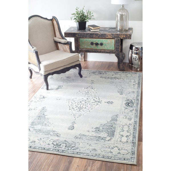 Nuloom Traditional Vintage Abstract Light Grey Rug 7 10 X