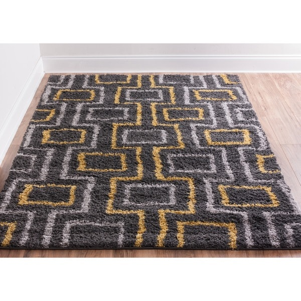 Well Woven Soft And Plush Shag Boxes Lines Grey And Gold